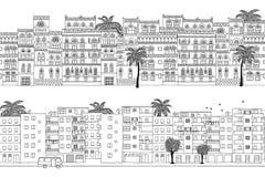 Due insegne senza cuciture disegnate a mano della città delle case del Medio-Oriente Fotografia Stock