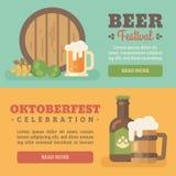 Due insegne variopinte di festival della birra illustrazione vettoriale