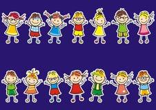 Due insiemi dei bambini piccoli su un fondo blu Innesta l'icona royalty illustrazione gratis