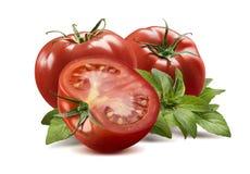 Due interi pomodori, metà e foglie del basilico Immagini Stock