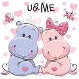 Due ippopotami svegli royalty illustrazione gratis