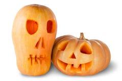 Due Jack O'Lantern Halloween Pumpkins Fotografia Stock Libera da Diritti