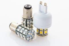 Due lampadine del LED con una baionetta ed una con G9 Immagini Stock