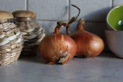 Due lampadine della cipolla sul tavolo da cucina con i vasi e le ciotole ceramiche Fotografie Stock Libere da Diritti