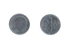 Due lati degli stessi moneta una moneta da dieci centesimi di dollaro Fotografie Stock Libere da Diritti