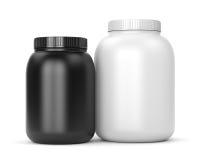 Due latte dei supplementi di sport Immagine Stock