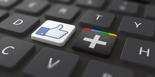 Due le più grandi reti sociali Immagine Stock