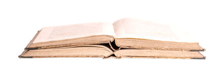 Due libri antichi su un fondo bianco Fotografia Stock