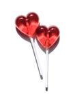 Due Lollipops Due cuori Caramella Concetto di amore Giorno del biglietto di S Fotografie Stock