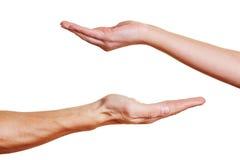 Due mani aperte della palma Immagini Stock