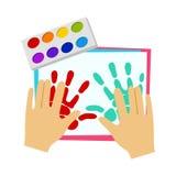 Due mani che dipingono con la pittura del dito, scuola elementare Art Class Vector Illustration illustrazione vettoriale