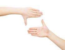 Due mani che fanno blocco per grafici Fotografia Stock