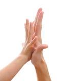 Due mani che fanno ciao-cinque gesto Immagini Stock Libere da Diritti