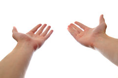 Due mani che raggiungono e che tengono Fotografie Stock Libere da Diritti