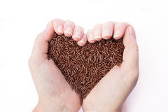 Due mani che tengono il cioccolato spruzza Fotografia Stock Libera da Diritti
