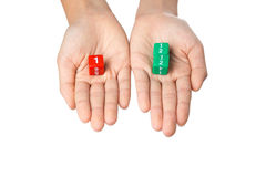 Due mani che tengono la frazione taglia Immagine Stock