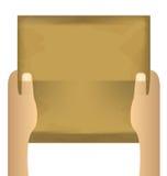 Due mani che tengono pezzo di carta vuoto su un bianco isolato Immagini Stock Libere da Diritti