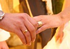Due mani con gli anelli di cerimonia nuziale. Fotografie Stock