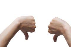 Due mani con il pollice giù Fotografia Stock Libera da Diritti