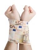 Due mani cuffed le fatture 50 euro Fotografia Stock Libera da Diritti