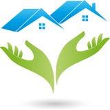 Due mani e due case, tetti, logo del bene immobile Immagini Stock Libere da Diritti