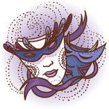 Due maschere di carnevale Fotografia Stock Libera da Diritti