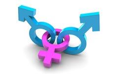Due maschii e simbolo femminile di genere Fotografie Stock
