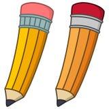 Due matite gialle del fumetto con gomma Fotografie Stock Libere da Diritti