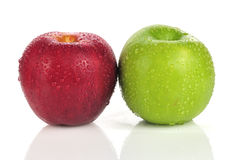 Due mela, rugiada Fotografia Stock
