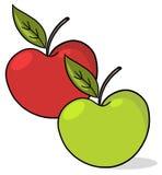 Due mele: Colore rosso e verde Immagini Stock Libere da Diritti