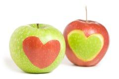 Due mele con cuore Fotografia Stock Libera da Diritti