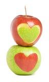 Due mele con cuore Immagini Stock