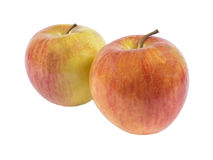 Due mele rosse su priorità bassa bianca Fotografia Stock