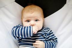 Due mesi adorabili svegli di bambino che succhia pugno Fotografie Stock