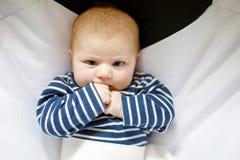 Due mesi adorabili svegli di bambino che succhia pugno Fotografia Stock
