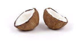 Due metà mature della noce di cocco con polpa squisita che gira sul bianco hanno isolato il fondo Loopable senza cuciture archivi video