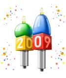 Due microfoni con la data di nuovo anno 2009 Fotografia Stock Libera da Diritti