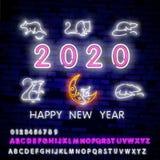 Due mila insegne al neon venti con il ratto al neon allegro 2020 sul fondo del muro di mattoni Illustrazione di vettore nello sti illustrazione di stock