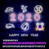 Due mila insegne al neon venti con il ratto al neon allegro 2020 sul fondo del muro di mattoni Illustrazione di vettore nello sti illustrazione vettoriale