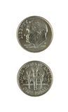 Due monete da dieci centesimi di dollaro Immagini Stock