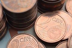 Due monete dell'euro centesimo Fotografie Stock