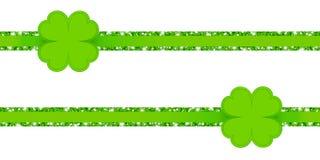 Due nastri orizzontali di scintillio con verde delle foglie del trifoglio illustrazione di stock
