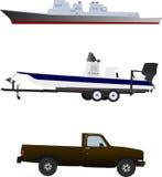 Due navi e un camion. Immagini Stock Libere da Diritti