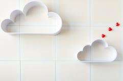 Due nuvole con cuore Immagine Stock