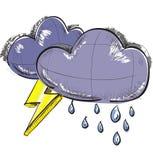 Due nuvole con i fulmini e le gocce di pioggia Immagini Stock