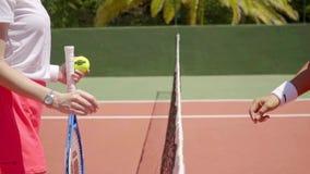 Due oppositori femminili di tennis che stringono le mani video d archivio