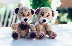 Due orsacchiotti adorabili che rappresentano un inlove del cuople Fotografia Stock Libera da Diritti