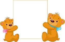 Due orsi che tengono un segno in bianco Fotografia Stock Libera da Diritti