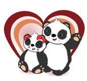 Due orsi di panda e un cuore Immagine Stock Libera da Diritti