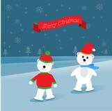 Due orsi polari che skatting sul ghiaccio royalty illustrazione gratis